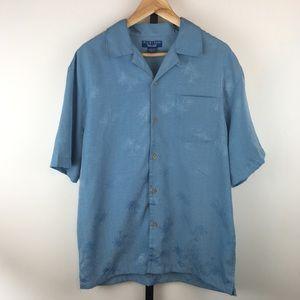 Monochromatic Hawaiian Shirt Mens M Blue Textured